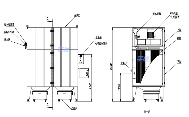 焊烟单机除尘器结构图